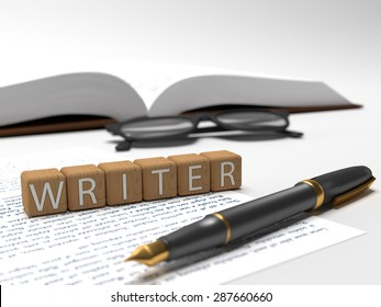 Wooden dices containing the word writer, a book, glasses and a fountain pen. 3D Illustration