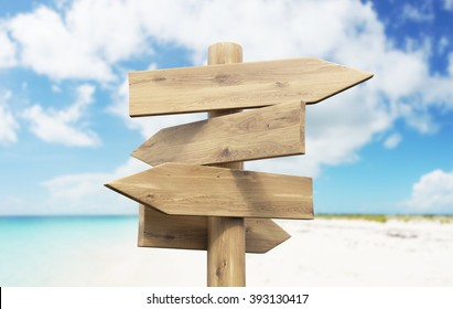 Wooden direction signs on beach. Sea and sky at background. Concept of information. Mock up. 3D render