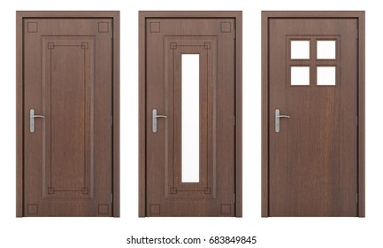 wooden door isolated on white background. 3d illustration