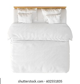 Wooden double bed with white linen isolated on white background. Include clipping path. 3d render