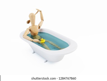 Wooden Dummy in a Bath isolated on White Background. 3D illustration
