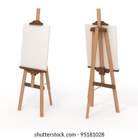Wooden easel with blank canvas, front and back, isolated on white, with clipping path, 3d illustration