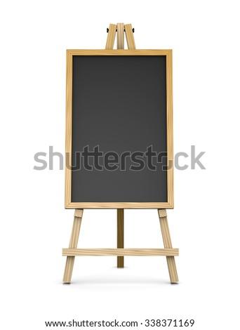 Wooden Easel Supporting Vertical Blackboard Chalkboard Stock ...