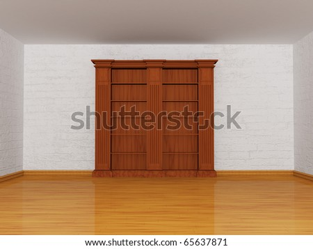 Wooden Empty Bookshelf In Minimalist Interior
