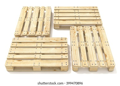 Wooden Euro Pallets Side View 3D Render Illustration Isolated On White Background