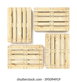 Wooden Euro pallets. Top view. 3D render illustration isolated on white background
