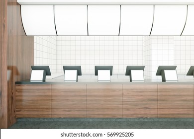Wooden fast food restaurant counters with empty displays. Advertisment concept. Mock up, 3D Rendering