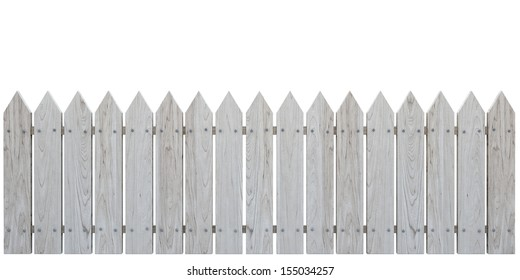 Wooden Fence on White background, Cherry Bleached
