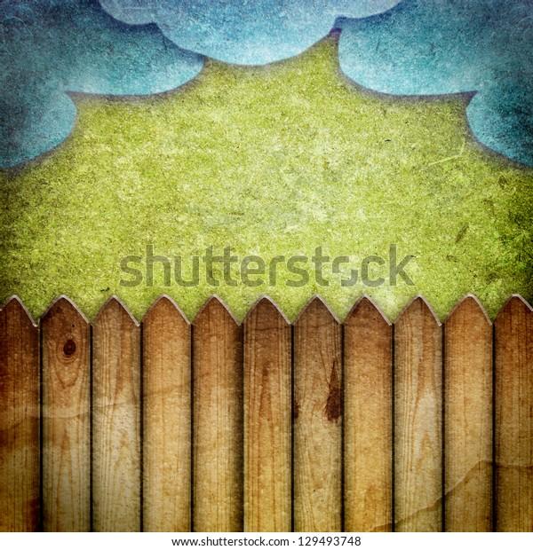 Wooden fence vintage landscape background