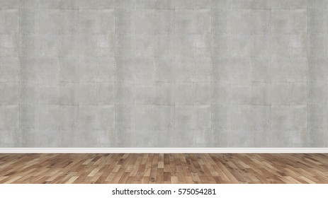 Wooden floor with concrete wall as stage object 3d rendering