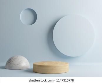 Wooden floor, minimal abstract scene, 3d render, 3d illustration