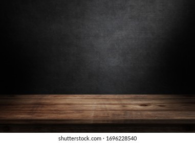 Wooden floor on black wall in dark room background 3d illustration