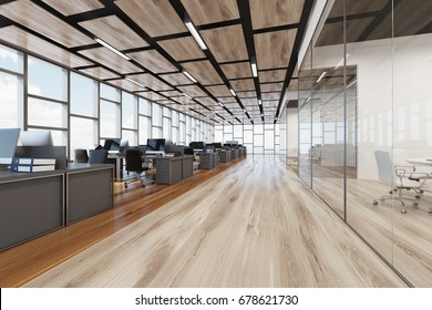 Wooden floor open space office interior with panoramic windows and a rectangular ceiling pattern. Side view. 3d rendering mock up