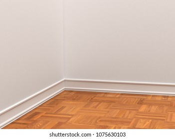 wooden floor parquet and white walls closeup. 3d illustration