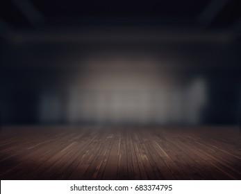 Wooden floor,Product showcase spotlight background.3D rendering