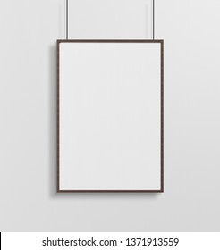 Wooden frame hanging in front of a wall mockup 3d rendering
