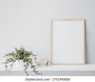 Wooden frame mock up in white background. Minimal modern design, 3D rendering, 3D illustration