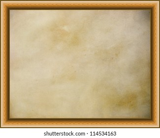 Wooden frame on  golden parchment background