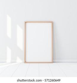 Wooden Frame with Poster Mockup standing on the white floor. 3d rendering