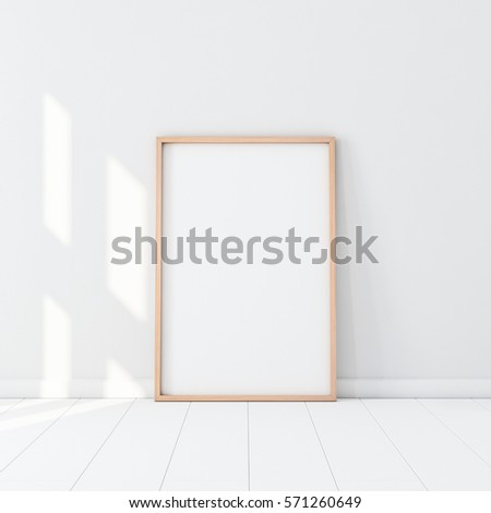 Wooden Frame Poster Mockup Standing On Stock Illustration Royalty