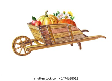 Wooden garden wheelbarrow with wheel in front,loaded with pumpkins,apples,chrysanthemums flowers.Good Harvest.Ripe fruits and vegetables.Watercolor illustration.