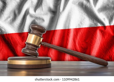 Wooden gavel and flag of Poland on background - law concept. 3D rendered illustration.