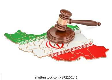 Wooden Gavel on map of Iran, 3D rendering