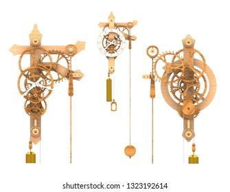 Wooden Gear Clock (3D Rendering)