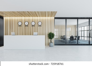 Wooden and glass wall office with a white reception counter and a row of clocks hanging above it. There is a conference room to the left. Front view 3d rendering mock up