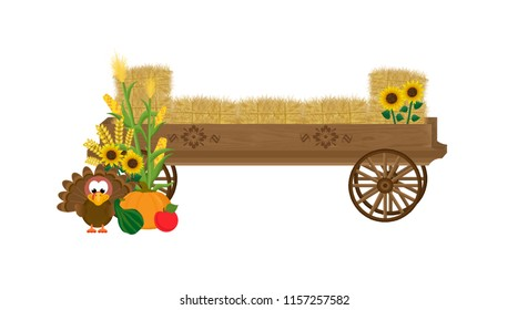 Wooden hay wagon with decorative wagon wheels, floral appliques, sunflowers, corn stalks, bales of hay, a pumpkin, gourd, apple, and turkey.