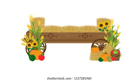 Wooden hay wagon with decorative wagon wheels, floral appliques, sunflowers, corn stalks, bales of hay, pumpkins, gourds, and a bucket of apples.