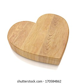 wooden heart shaped kitchen board isolated on white background