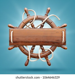 Wooden helm with a blank wooden plank for text. Unusual 3D illustration. Travel and vacation concept.