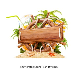 Wooden helm with a blank wooden plank for text on sand. Unusual 3D illustration. Travel and vacation concept. Isolated