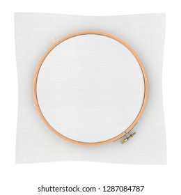 Wooden Hoop for cross stitch. A Tambour Frame for embroidery and Canvas with Free Space for Your Design on a white background. 3d Rendering
