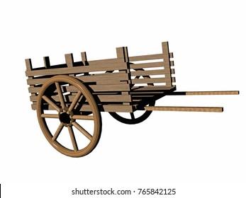 wooden horse cart 3D rendering