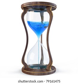 wooden hourglass with a blue liquid flowing down. isolated on white.