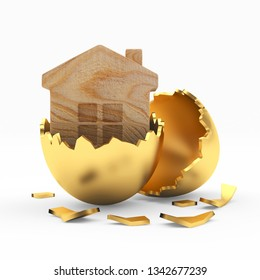 Wooden house icon inside a golden broken Easter egg. 3D illustration