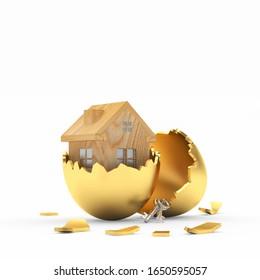 Wooden house icon inside on broken golden Easter egg shell isolated on a white background. 3D illustration