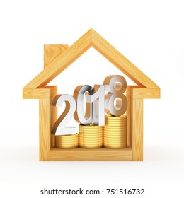 Wooden house icon with silver text 2018 on golden coins. 3D illustration
