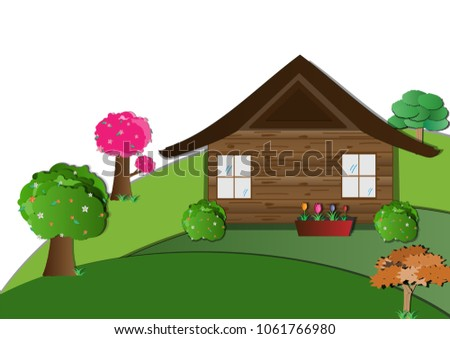 Wooden House On Hills Countryside Rural Stock Illustration ... on ideas for landscaping front yard ranch house, front entrance design ideas house, pathway for front yard ranch house, garden layout, white organic garden bus house, outdoor garden house, garden designs for slopes, garden glass house, front flower design ideas house, creating front garden against house, garden designs front porch, michelle's white garden house, build a fairy garden house,