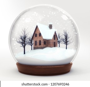 wooden house in snowball decoration isolated on white background, glass ball winter seasonal christmas decoration 3d illustration rendering
