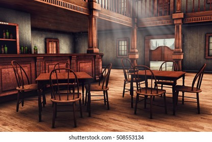 Wooden interior of a Wild West saloon. 3D illustration.