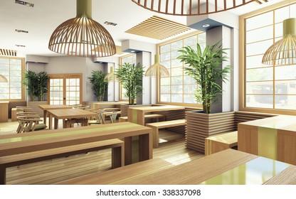 wooden japan restaurant with plants 3d Rendering