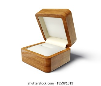 wooden jewellery box isolated on a white