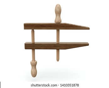Wooden joiners clamp. 3D illustration