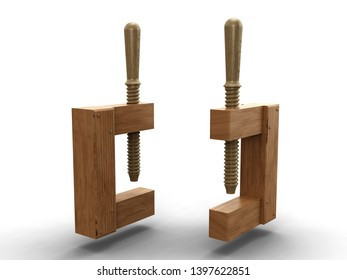 Wooden joiners clamp. 3D model.