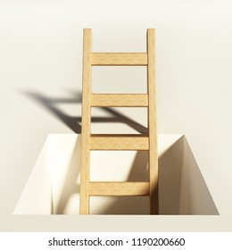 Wooden ladder rising above the square hole on the ground.