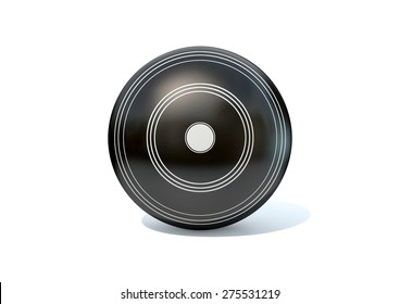 A wooden lawn bowling ball on an isolated white studio background