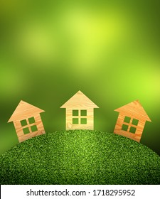 Wooden little houses in forest 3d background. Green grass meadow.